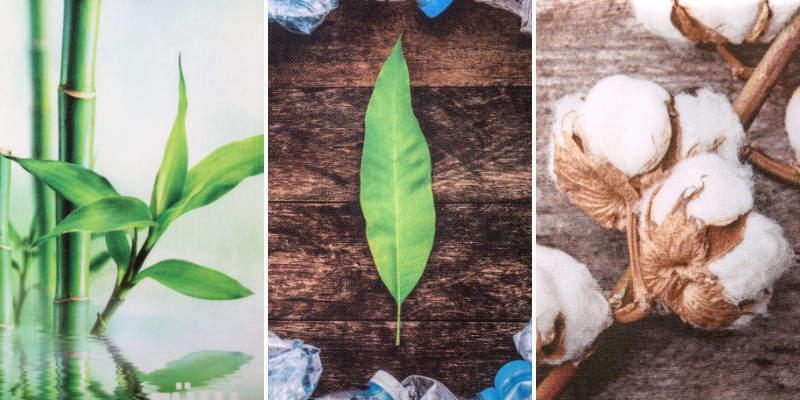 Digitaldruck auf Bambus-, Baumwoll- und PET-Taschen.